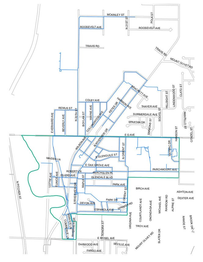 A map of Parchment's water system shows the extent of the system in blue, including the portions of neighboring Cooper Township served by the system. Parchment city boundaries are shown in green. (Map provided to MLive by Kalamazoo County Health and Community Services Department )