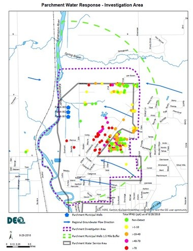 Residents on private wells within the green-dashed line can receive free bottled water