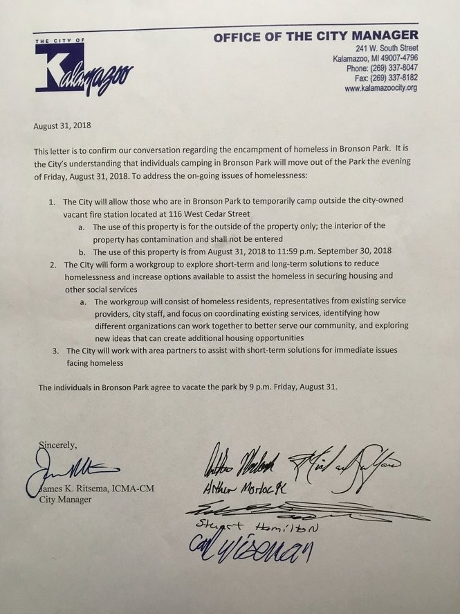 A copy of a letter that members of a homeless encampment and city officials signed on Aug. 31.