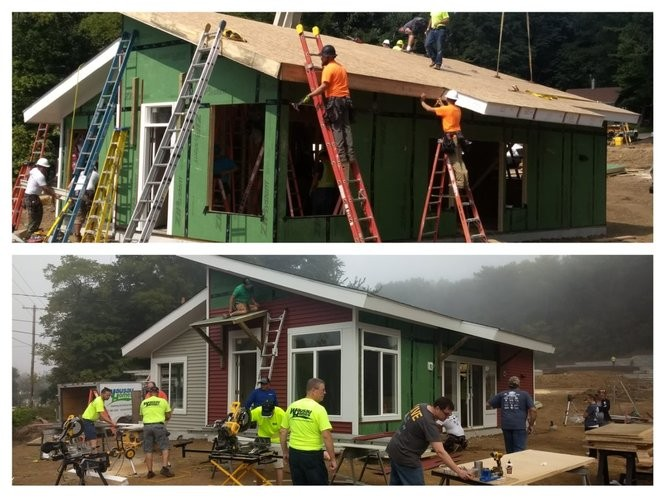 Much of the structure was assembled Thursday, Sept. 13, (top) and final siding was installed and the interior assembled on Friday, Sept. 14, (bottom) the second day of the two-day build.