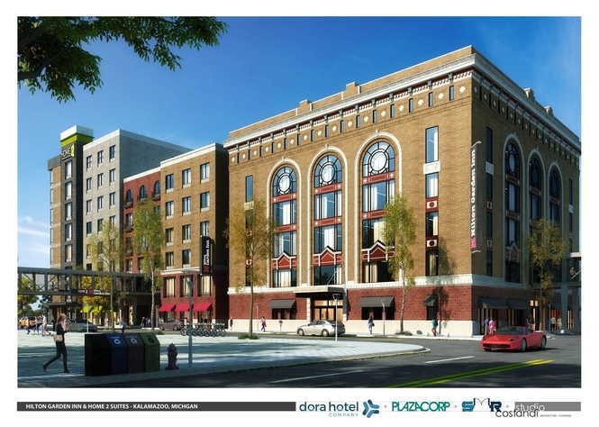 PlazaCorp Realty Advisors Inc. plans to invest $42.8 million to redevelop the Rose Street Market building and an adjacent parking lot into two buildings totaling 153,500 square feet. (Rendering provided by PlazaCorp)
