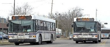 Metro Transit buses head out from the Kalamazoo Transportation Center.