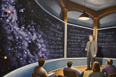"""Rob Gonsalves' """"The Chalkboard Universe,"""" depicting Albert Einstein lecturing to students in front of a chalkboard where equations gradually morph into the cosmos."""