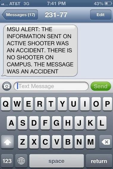 An error caused MSU to send out a false emergency alert of an active campus shooter Tuesday evening.