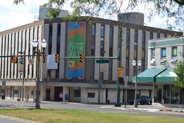 The former Citizens Bank, 100 W. Grand River Ave. in East Lansing, part of the failed City Center II project. The property is adjacent to East Lansing's Park District.