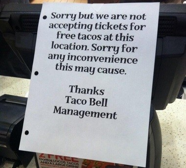 Taco Bell ended its promotion offering free tacos to fans with MSU basketball ticket stubs, provided the Spartans scored at least 70 points, after nine seasons. The location just north of MSU's campus at 601 E. Grand River Ave. displayed this flyer following Monday's MSU game versus Portland.