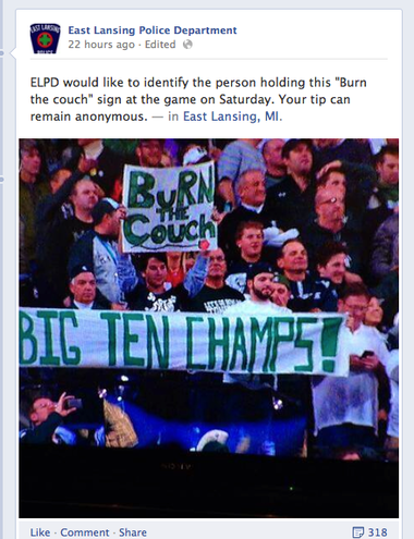 A screen grab from the East Lansing Police Facebook post, which since has been taken down.