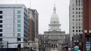 The Michigan Capitol as seen from downtown Lansing.