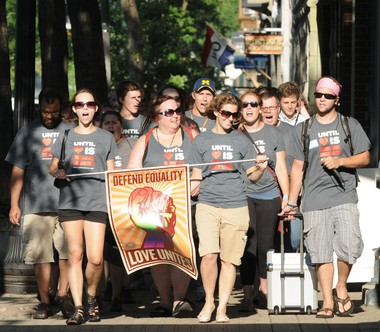 About 150 people marched through downtown Holland in 2011, urging city officials to add sexual orientation and gender identity to Holland's anti-discrimination ordinance.The city voted down the measure.