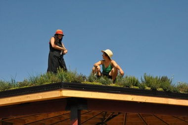 Artists Mira Burack and Kate Daughdrill, who designed the Edible Hut in Calimera Park in northeast Detroit.