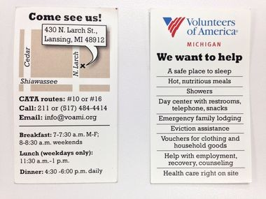This is the front and back of cards that Volunteers of America are encouraging people to hand to street beggars. The cards provide bus routes, services and contact information for the Volunteers of America in Lansing.
