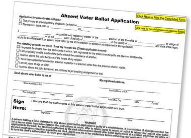A paper absentee ballot application