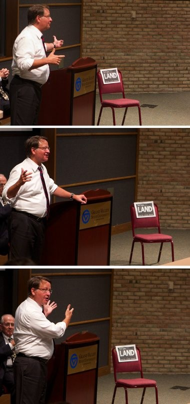 Three images of Gary Peters talking about where he stands on issues, and calling for a debate with Terri Lynn Land.