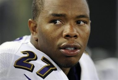 FILE - In this Aug. 7, 2014, file photo, Baltimore Ravens running back Ray Rice sits on the sideline in the first half of an NFL preseason football game against the San Francisco 49ers in Baltimore. The NFL players' union has appealed the league's indefinite suspension of Ray Rice, Tuesday, Sept. 16, 2014.