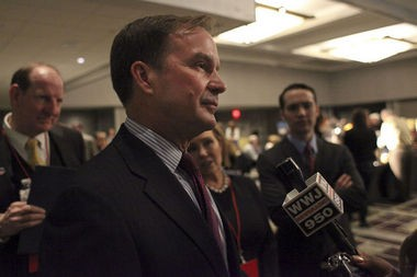 For Attorney General Bill Schuette, speaks to reporters during the Michigan GOP 2014 election part on November 4, 2014 at the GM Renaissance Center in Detroit.