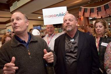 """U.S. Rep. John Moolenaar and """"Pawn Stars"""" star Rick Harrison appear at an island event for Marco Rubio at the 2015 Mackinac Republican Leadership Conference."""