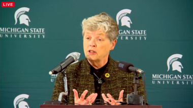 MSU President Lou Anna Simon said Monday, Jan. 11, that the university's public TV station, WKAR, is not going to be apart of the FCC spectrum auction and will remain on air.