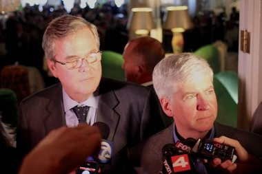 Gov. Rick Snyder and former Florida Gov. Jeb Bush have both endorsed the Common Core State Standards for education, funding for which will be blocked by the budget passed by the state legislature.