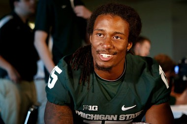Michigan State cornerback Trae Waynes talks with members of the media during their media day at Spartan Stadium in East Lansing Monday, August 4, 2014. (Mike Mulholland | MLive.com)