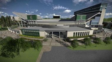 Michigan State will unveil its $24.5 million north end zone expansion Monday, Aug.25. The facility will have a 4,500 square foot home locker room that will be named for Rachel Adams, the mother of former Spartan Flozell Adams, who gave $1.5 million to the project. (Courtesy of MSU Athletics)