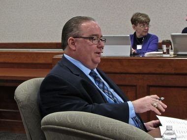 Dearborn Public Schools superintendent Brian Whiston speaks during his interview. He was approved 7-1 by the board to be the next state superintendent. (Kyle Feldscher | MLive)