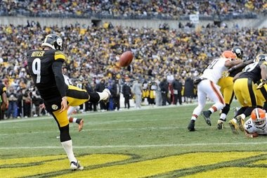 Drew Butler appeared in 16 games for the Steelers in 2012, averaged 43.8 yards per punt.