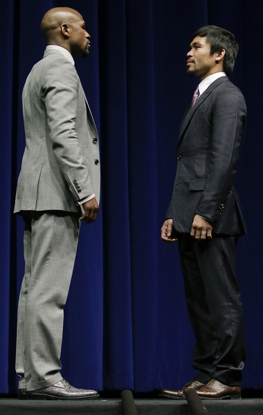 Floyd Mayweather and Manny Pacquiao faced off in Los Angeles last week, and will meet in the ring May 2 in Las Vegas.