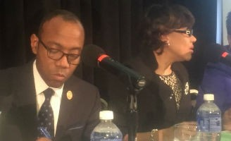 NAACP President Cornell William Brooks and Flint Mayor Karen Weaver attend a Jan. 26 town hall meeting with Flint area residents to discuss the city's water crisis.