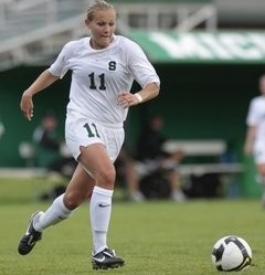 Laura Heyboer, seen here with the Michigan State Spartans, got her first point of the season for the Western New York Flash as they played the Boston Breakers on Saturday, April 27, 2013.