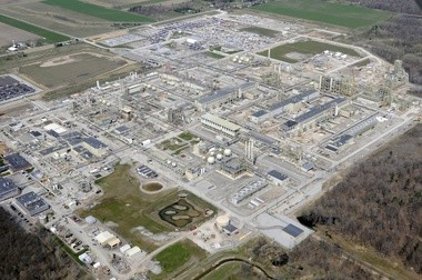Hemlock Semiconductor in Thomas Township, view is to the northwest.