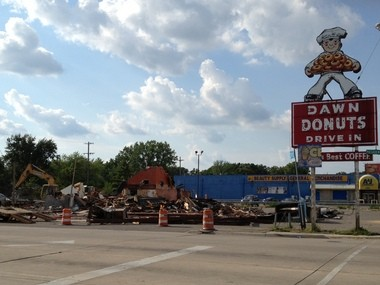 The Dawn Donuts on Clio Road in Flint is torn down to make way for a new Dawn Donuts, which will include a Subway restaurant.