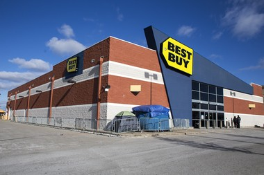 In this file photo, two tents sit outside Best Buy in Midland in anticipation of Black Friday sales. The store, located at 1200 Joe Mann Blvd. is closing Feb. 14, 2015.