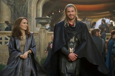 "Natalie Portman and Chris Hemsworth in ""Thor: The Dark World."""