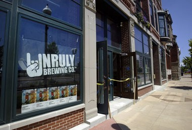 The exterior of what will be Unruly Brewing Company, and additional retail, on July 16, 2013. The new business is being constructed at the Russell Block Building on West Western Avenue in downtown Muskegon.