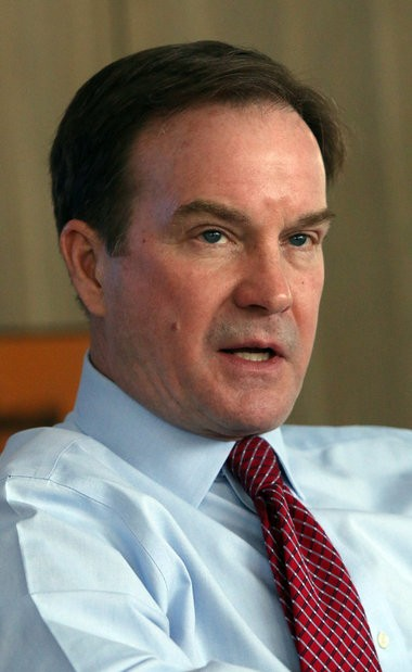 Michigan Attorney General Bill Schuette speaks to MLive reporters during a Muskegon Chronicle editorial board meeting in this March 26, 2014 photo.