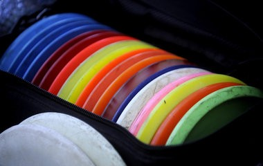 A bag full of discs used while playing disc golf. Organizers hope a new disc golf course will come to fruition at Ella Sharp Park in Jackson.