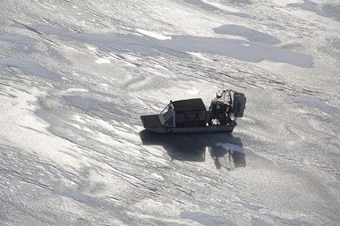 A U.S. Coast Guard Special Purpose Craft-Air returns to shore after a recent rescue on the Saginaw Bay. Coast Guard crews rescued a man whose airboat had overturned and confirmed on Monday, March 4, that the body of a second man was found.