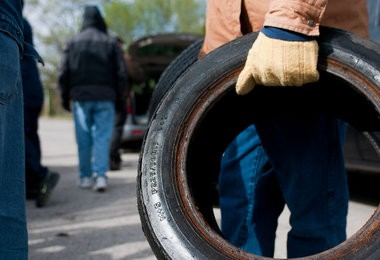 Bay City residents dropped off tires to be recycled at the 2012 Mayor's Annual Clean Up Day.