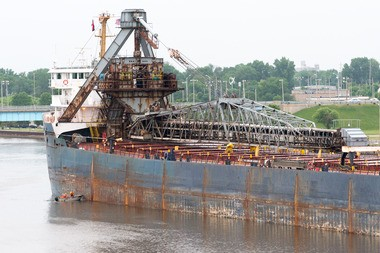The Algorail has been stuck on the Saginaw River between Liberty and Veterans Memorial bridges in Bay City since about 5 a.m. Tuesday, June 25.