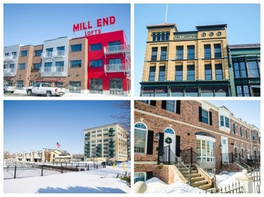 From left at the top, The Mill End Lofts, Laporte Building, Jennison Place Condominiums and Brownstones.