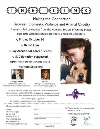 Flyer for a seminar exploring the link between domestic violence and animal cruelty, to be held Friday, Oct. 10.
