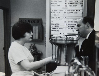 Bay City residents Jan and Bob Shea met at Sears' downtown Bay City location on Saginaw Street in 1966. This photo was taken in January 1967, the year the couple was married, at the coffee shop inside the department store, where Jan worked. Bob Shea worked as a carpet salesman at the store.