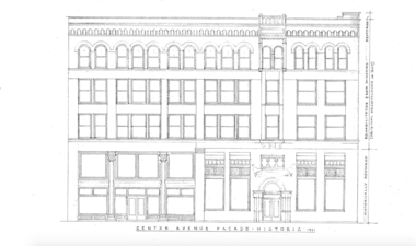 A rough sketch of what the former Chemical Bank building could look like, as drawn by Bay City architect John T. Meyer.