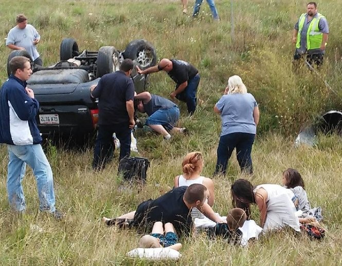 Victims and rescuers at the scene of a rollover crash Aug. 26 on I-75 in Bay County.