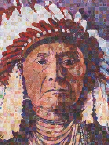 """This acrylic painting of Chief Joseph is one of a series of five portraits from """"Great Native American Chiefs"""" by Bay City native Randal Huiskens, who used the series as his first ArtPrize entry."""