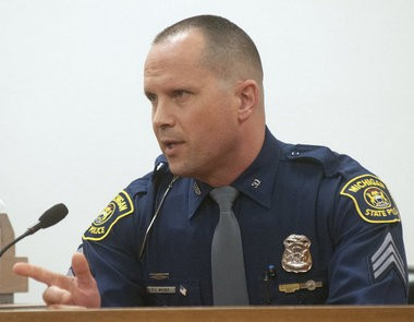 Michigan State Police Detective Lt. Eric L. Wilber of the Bay Area Narcotics Enforcement Team, or BAYANET, testifies in a 2013 court hearing.