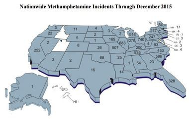 A state-by-state breakdown of meth-related incidents police responded to 2015. Courtesy Missouri Highway Patrol