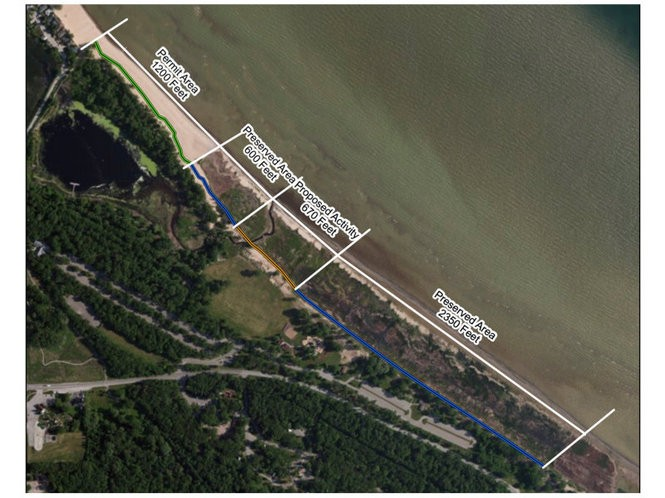 A map of the shoreline at the Bay City State Park Recreation Area.