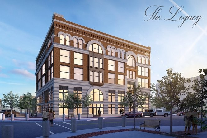 A rendering of The Legacy building in downtown Bay City. Neighborhood Development Co. is looking to transform the former Chemical Bank building into a multi-use building with residential apartment rentals and commercial space. The building's residential and commercial space is being advertised at www.legacybaycity.com.