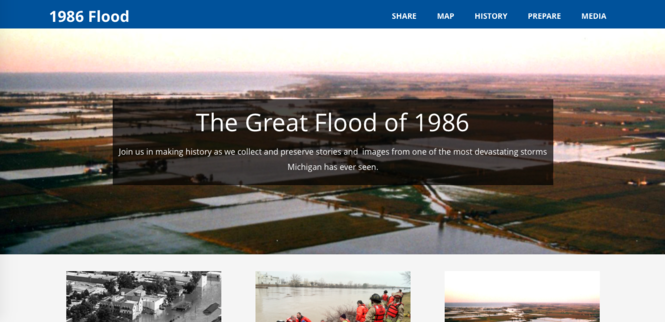A screenshot of a new website that went live this week recognizing the Great Flood of 1986.